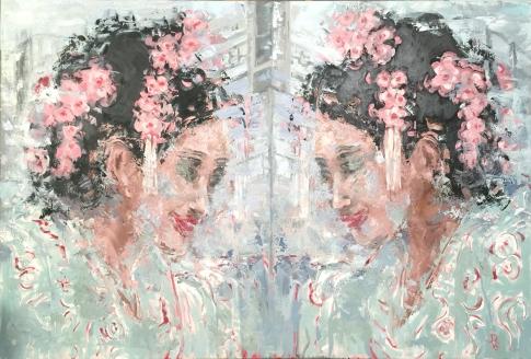 """Double Facing Geishas Oil on Canvas. 48 x 72"""". 2016"""