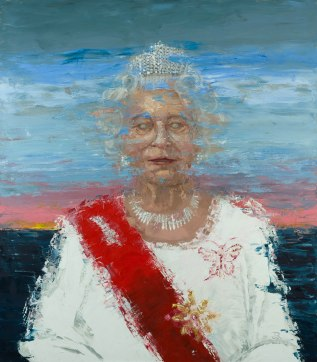 """Sunset of the British Empire (the Red Queen) Oil on Canvas. 60 x 56"""". 2017."""